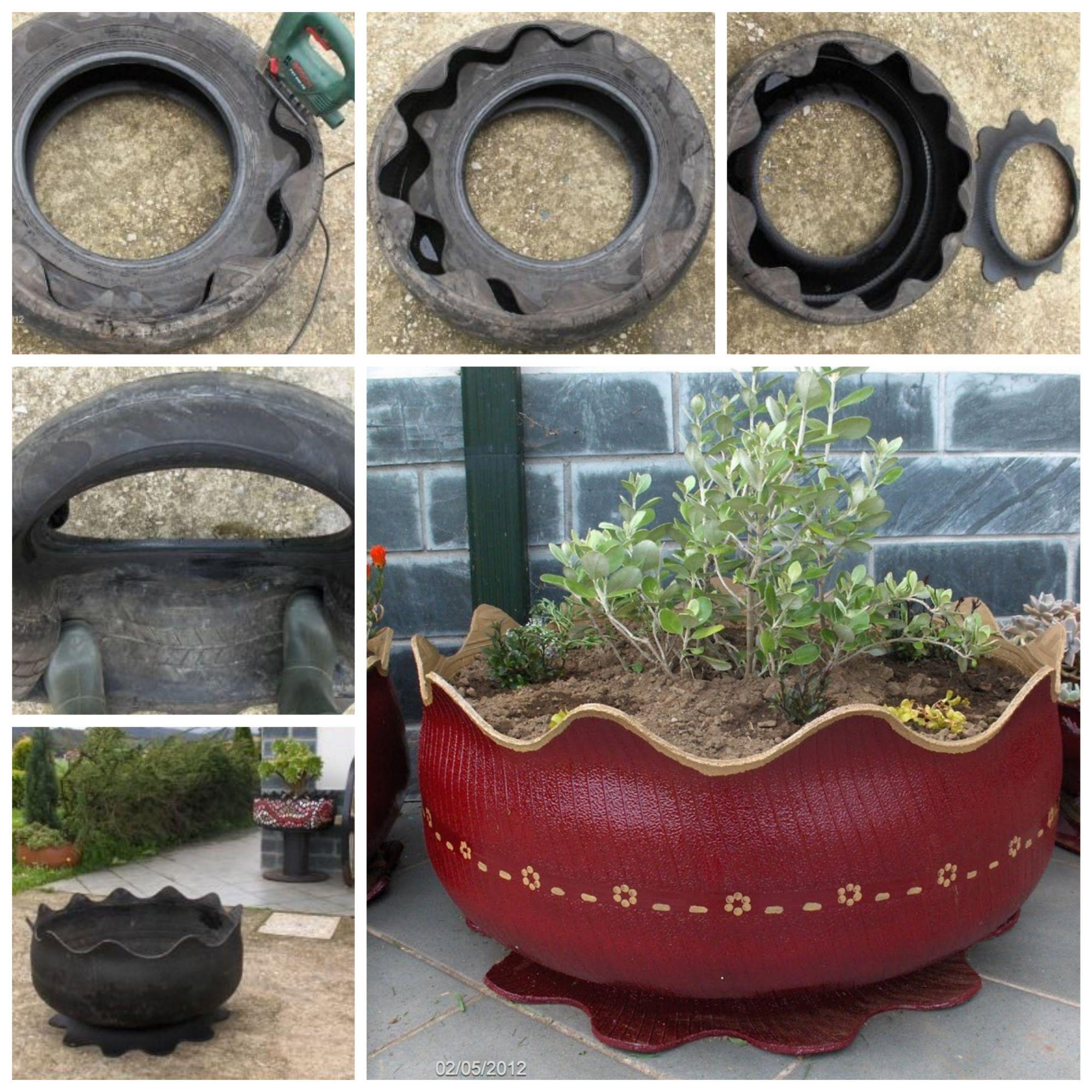 Transforme Um Pneu Velho Em Vaso De Flores Pot De Fleur Design Decoration Jardin Decor De Jardin Diy