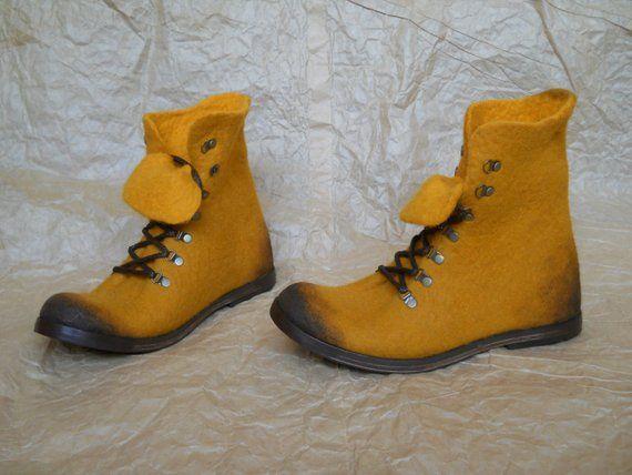 Hand Felted Boots Soleil Waxed Filzen