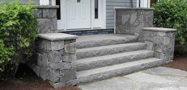 Solid Granite Steps Stone Cheek Walls Front Porch Stone Steps