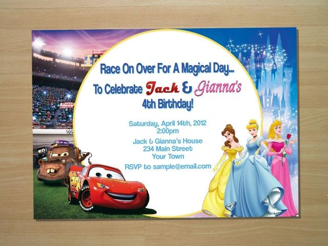 Custom cars princess twin joint birthday invitation digital file custom cars princess twin joint birthday invitation digital file printing available 1150 via etsy stopboris Image collections