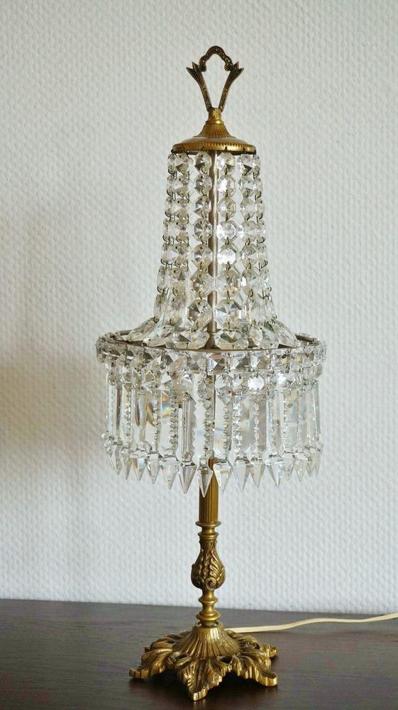 jugendstil kristall kronleuchter tischleuchter alte tischlampe l ster leuchter art nouveau. Black Bedroom Furniture Sets. Home Design Ideas