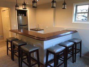 Custom Home Bar Top With American Walnut Chicago Bar Rail Molding