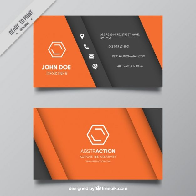 Download Abstract Gray And Orange Business Card For Free Graphic Design Business Card Business Cards Creative Business Card Design