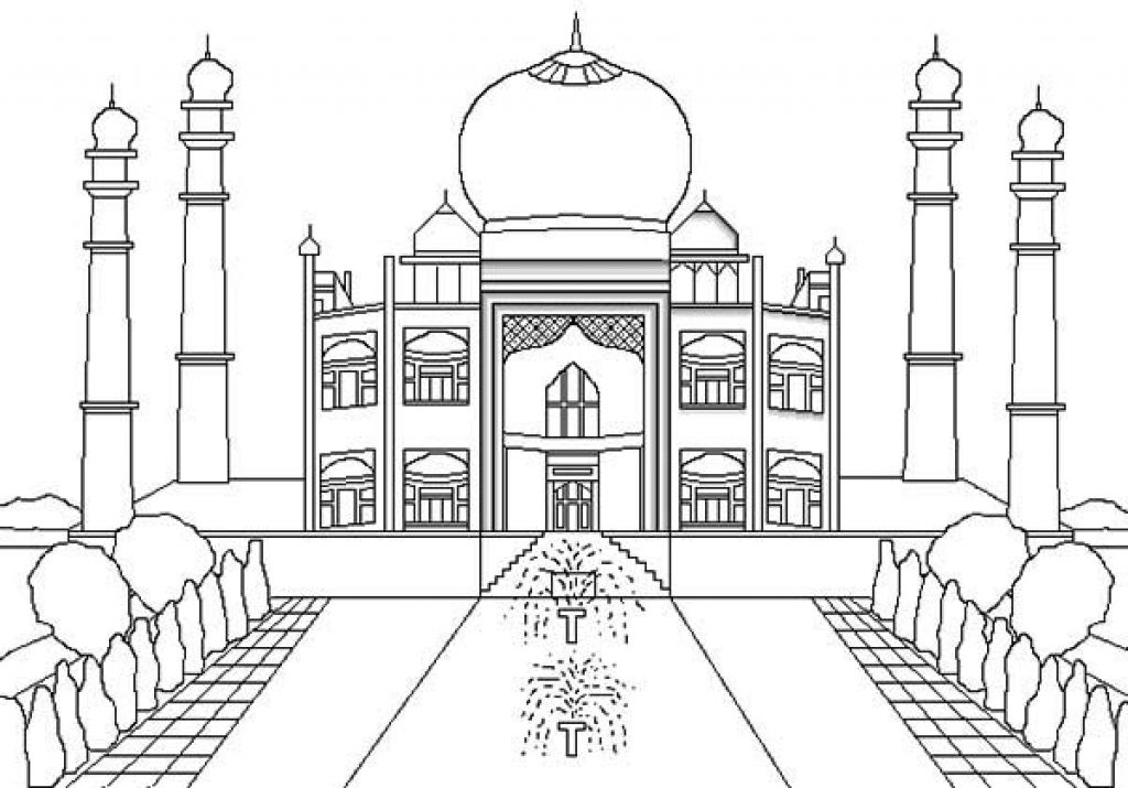 Taj Mahal The Jewel Of Muslim Art In India Coloring Page Netart