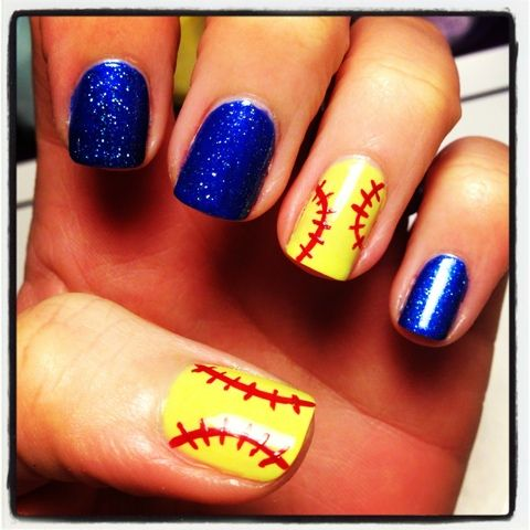 softball nail art | Queen Nail Designs: Softball Love! - Softball Nail Art Queen Nail Designs: Softball Love! Nails
