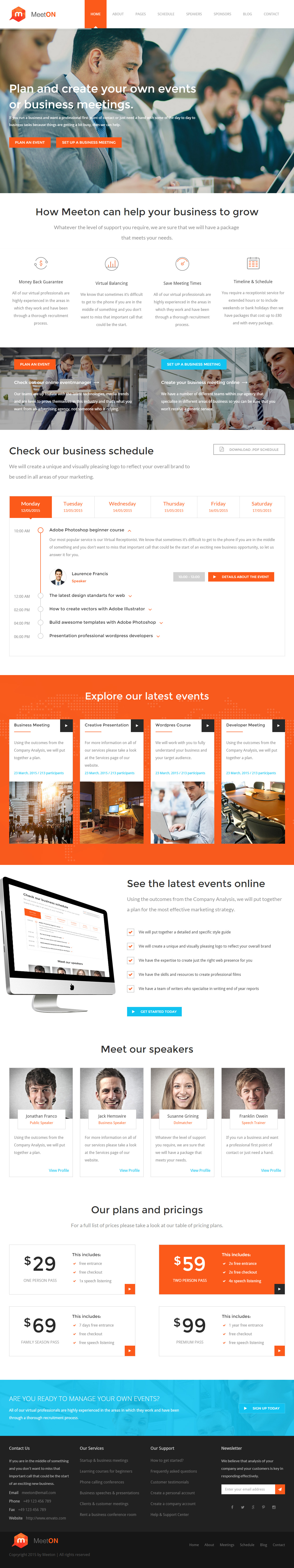 Meeton is Premium Responsive Retina #Conference #HTML5 #template. Bootstrap 3 Framework. Parallax Scrolling. Ajax Contact Form. Test free demo at: http://www.responsivemiracle.com/cms/meeton-premium-responsive-conference-event-html5-template/