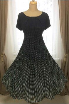 Šifonové šaty LAURA s jemným puntíkem tmavě modré raglánový rukáv dílové  šaty s rozšířenou sukní handmade 969fd6d0f6