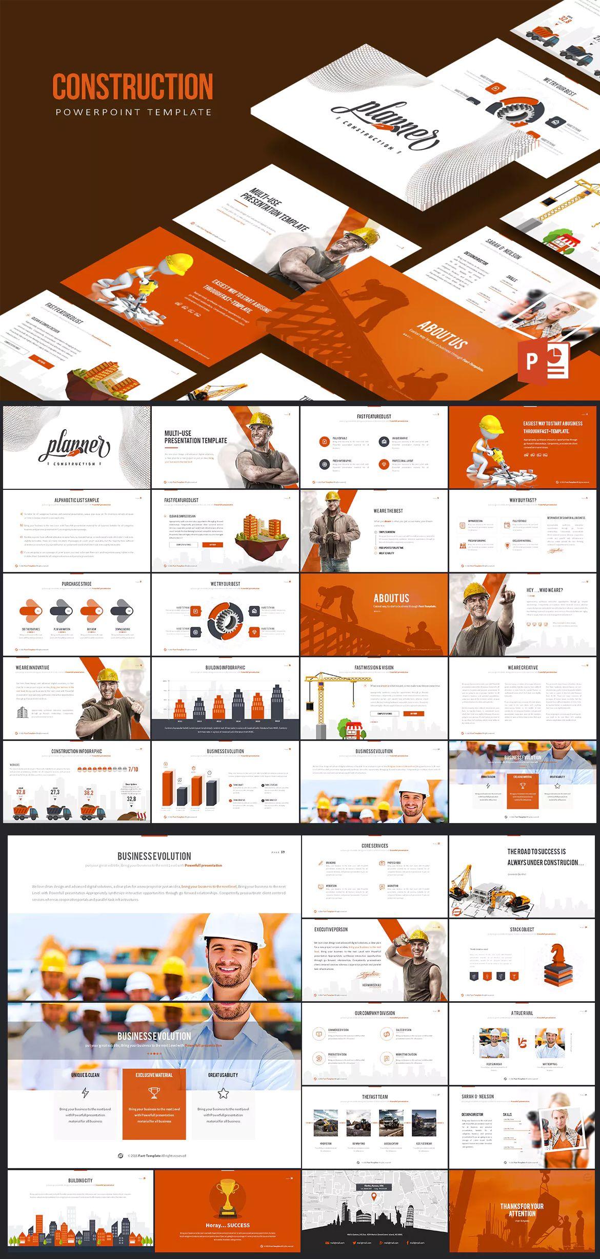 Construction Powerpoint Presentationtemplate Design Pinterest