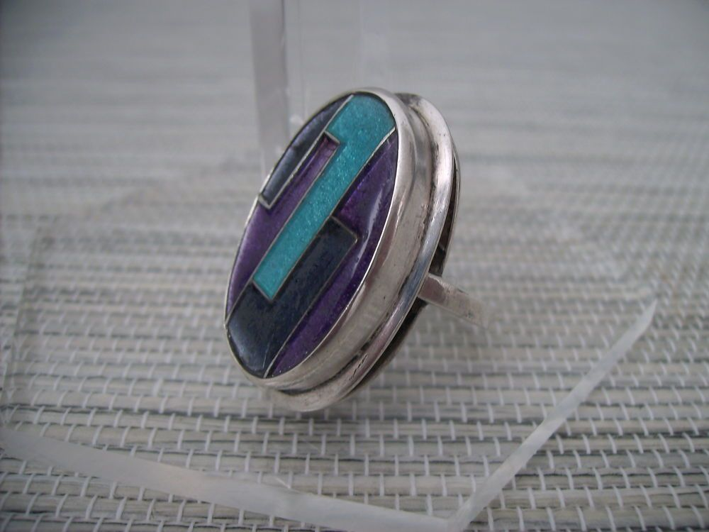 GOMINA vintage EMAILLE enamel RING ART DECO silber silver BUNGE Schibensky ära