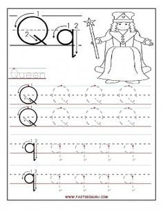 printable letter q tracing worksheets for preschool printable coloring pages for kids - Kindergarten Tracing Pages