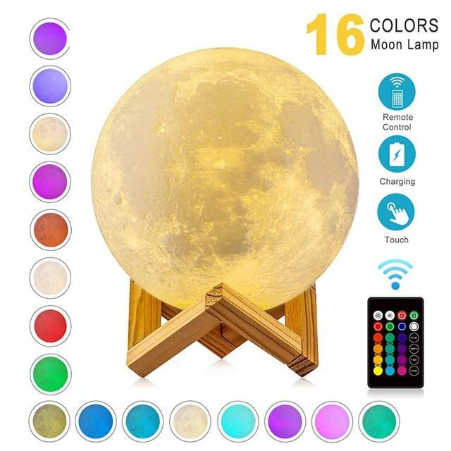 USB Rechargeable 3D Print Moon Lamp Night Light - 16 Colors / 10cm / United States