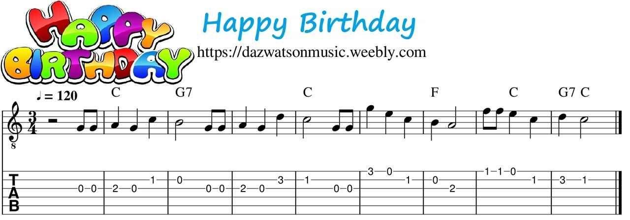 Happy birthday easy childrens guitar tab in 2020 happy
