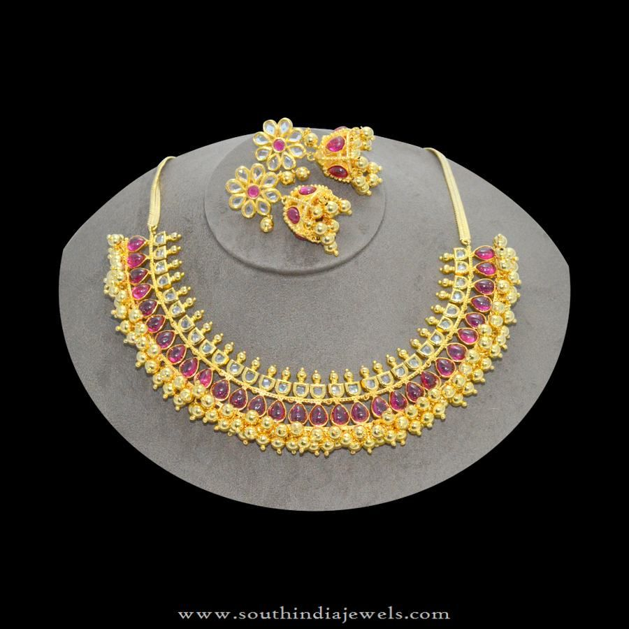 1gm Gold Ruby Choker Necklace with Jhumka gold designs Pinterest