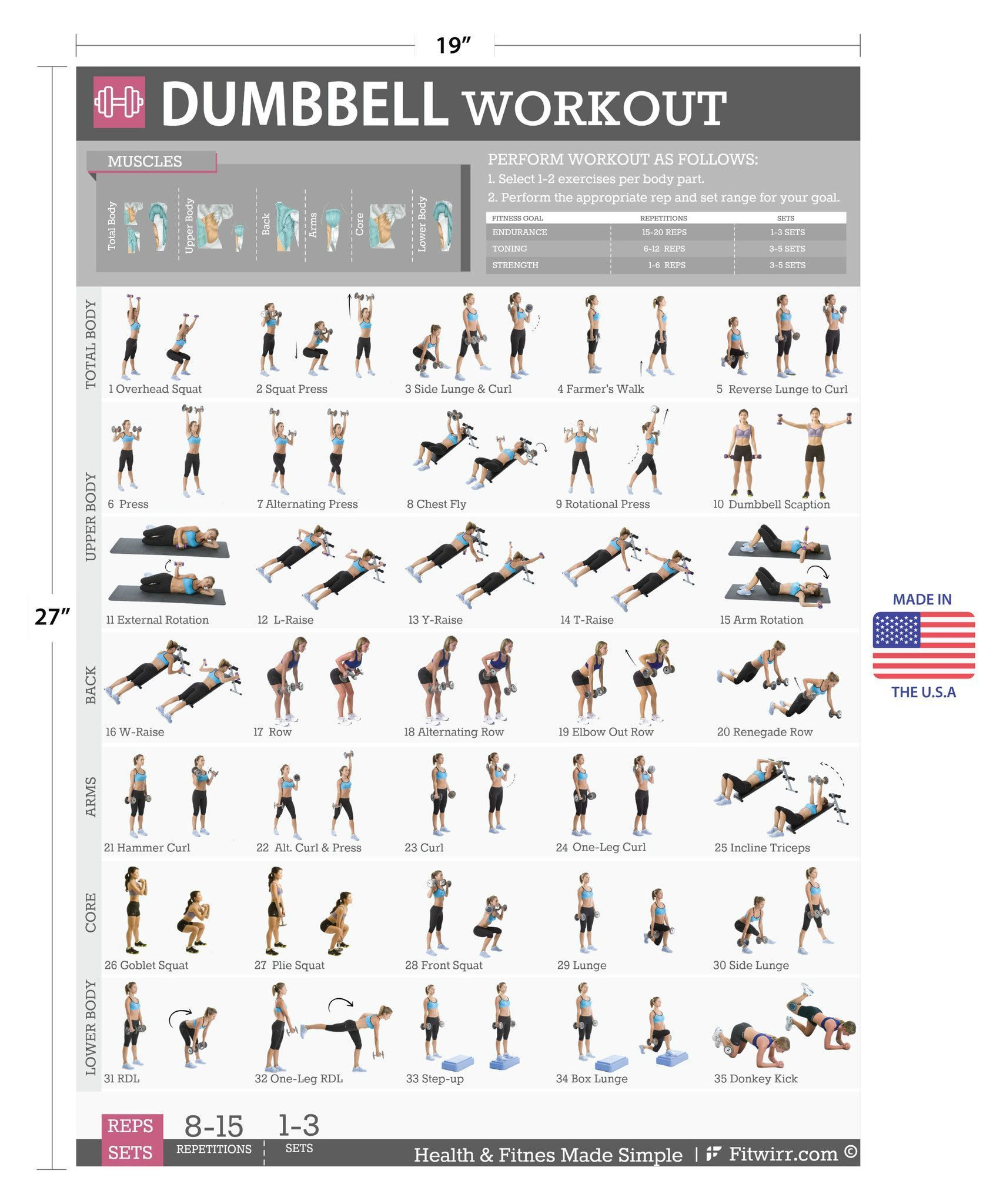 Free Weight Dumbbell Back Exercises: Dumbbell Exercise Workout Poster