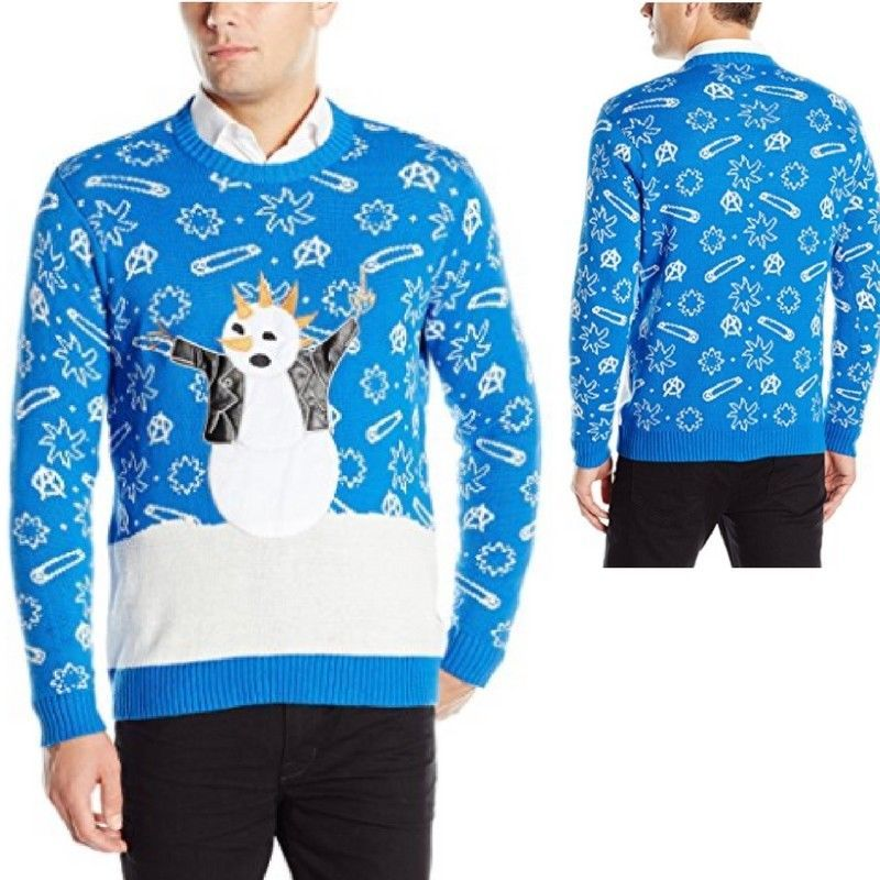 Blue And White Christmas Sweater.Mens Snowman Ugly Christmas Sweater Punk Rock Pullover