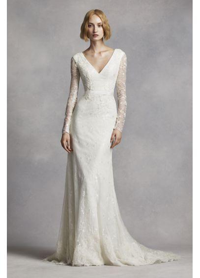 White By Vera Wang Long Sleeve Lace Wedding Dress David S Bridal Long Sleeve Wedding Dress Lace Wedding Dresses Vera Wang Wedding Dresses Lace
