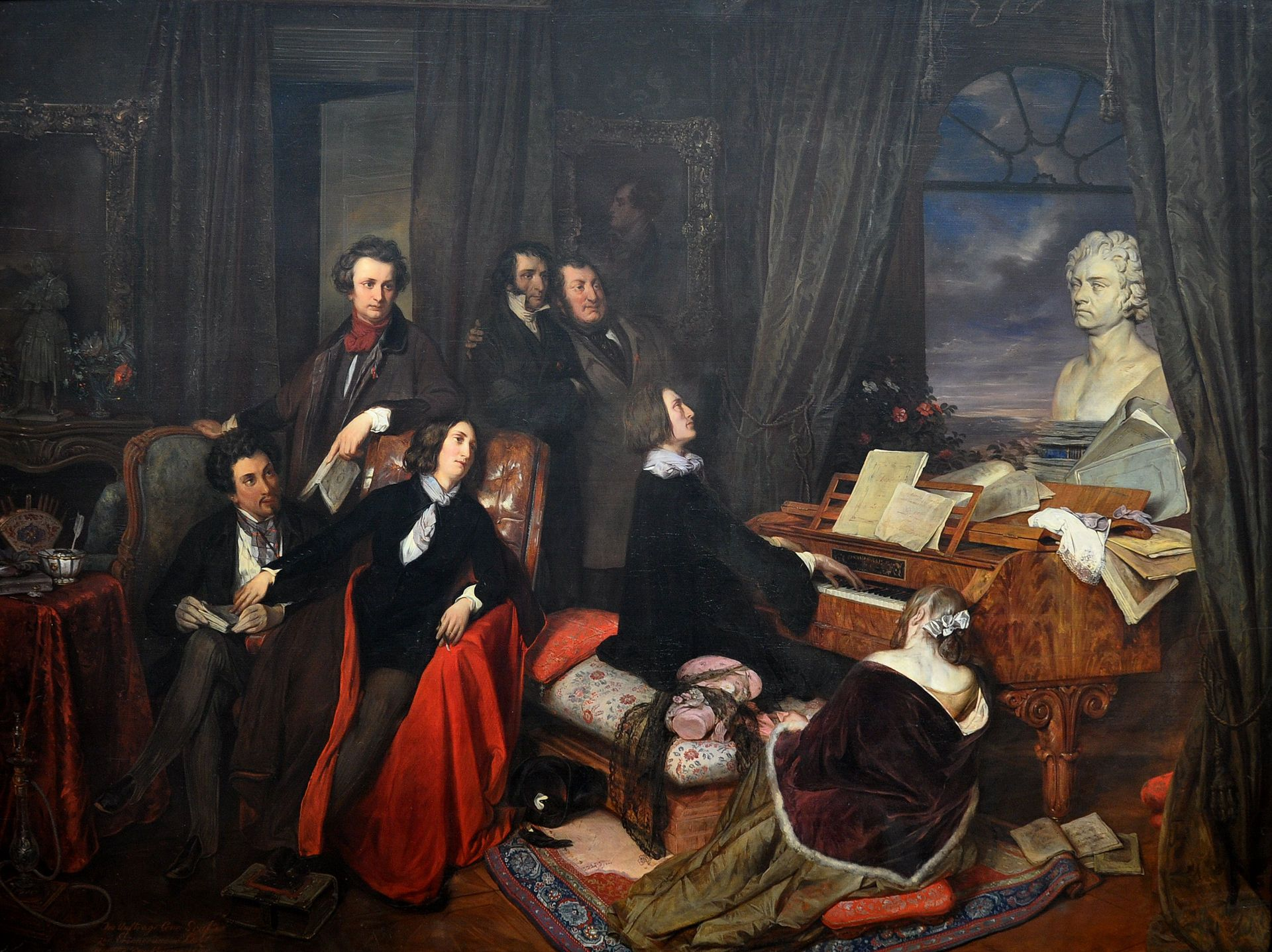 Franz Liszt Fantasizing At The Piano 1840 By Danhauser Commissioned By Conrad Graf The Imagined Gathering Shows Seated Alfr Liszt Piano Art Print Painting
