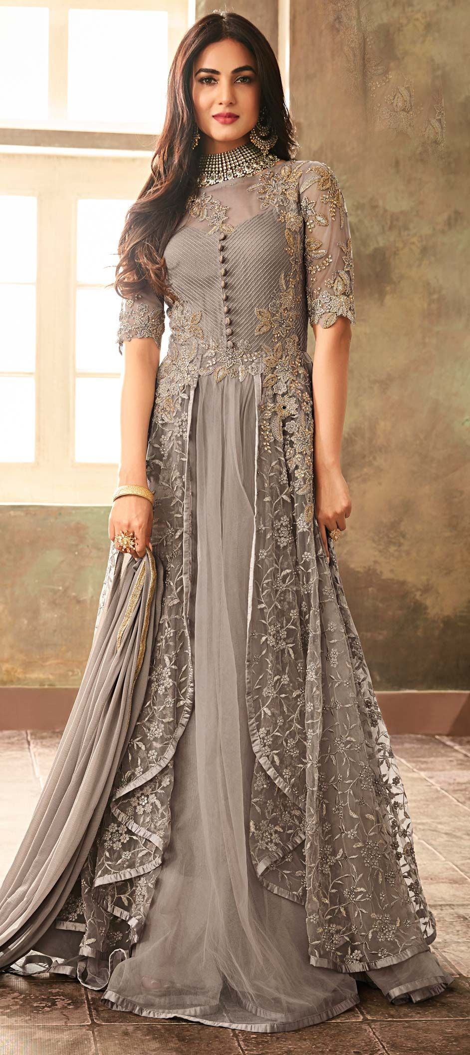 Net Party Wear Salwar Kameez in Black and Grey with Thread