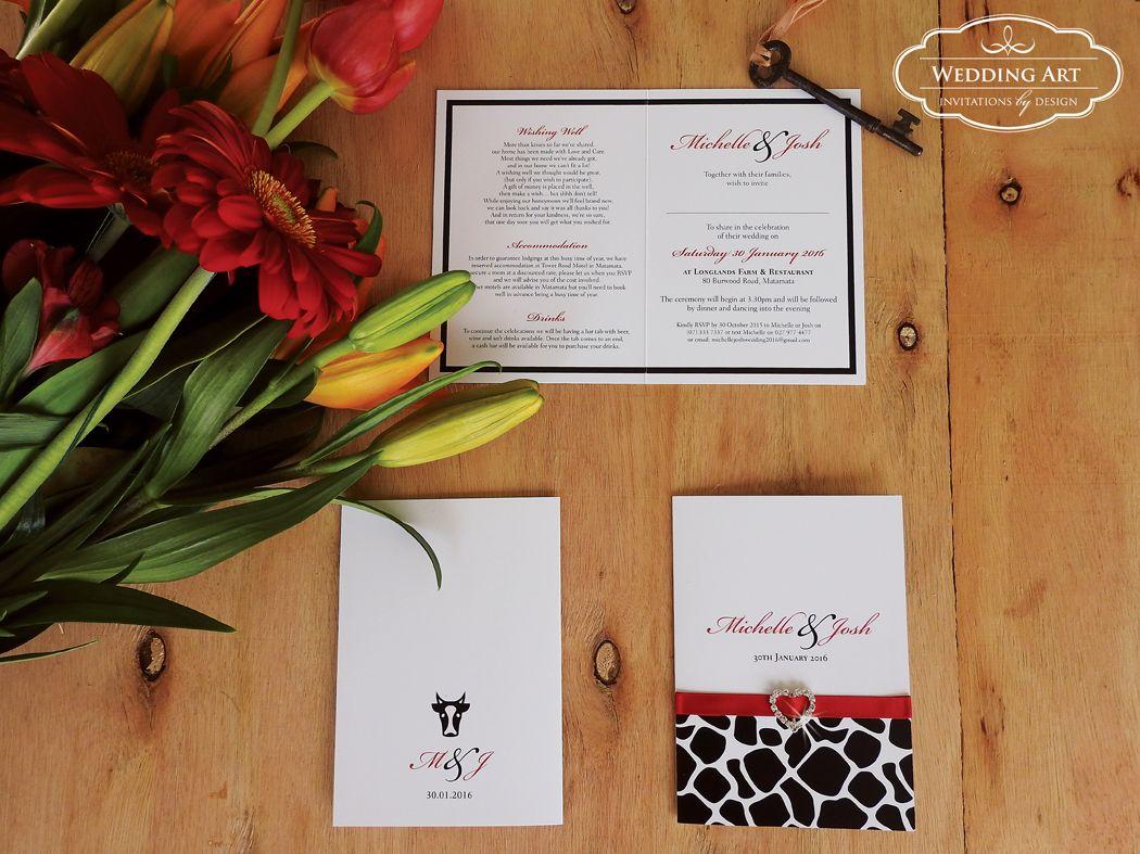 Rustic Wedding Invitations Nz: Rustic Farm Wedding Invitation With Diamante Buckle/ribbon