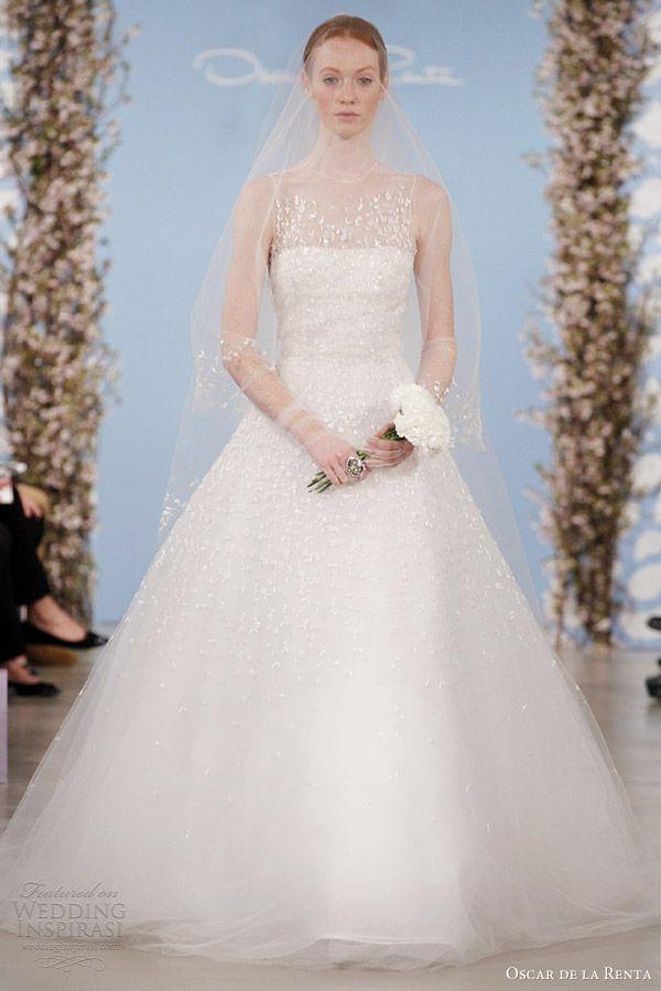 www.oscardelarenta.com, Oscar de la Renta wedding dresses 2014 strapless gown with illusion tulle neckline