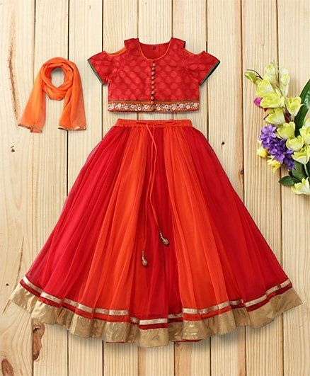 a6eee1c53a80fe Twisha Trendy And Traditional Cold Shoulder Brocade Blouse & Lehenga With  Dupatta - Red