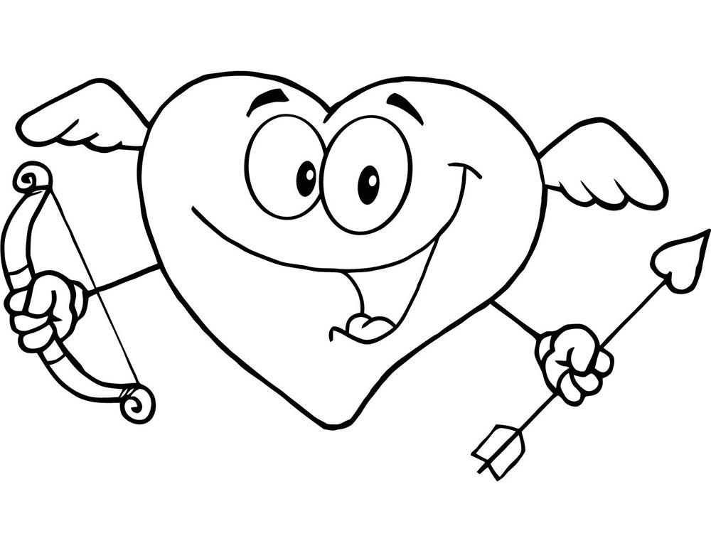 Corazon Cupido para el día de los enamorados | Imagen para colorear ...