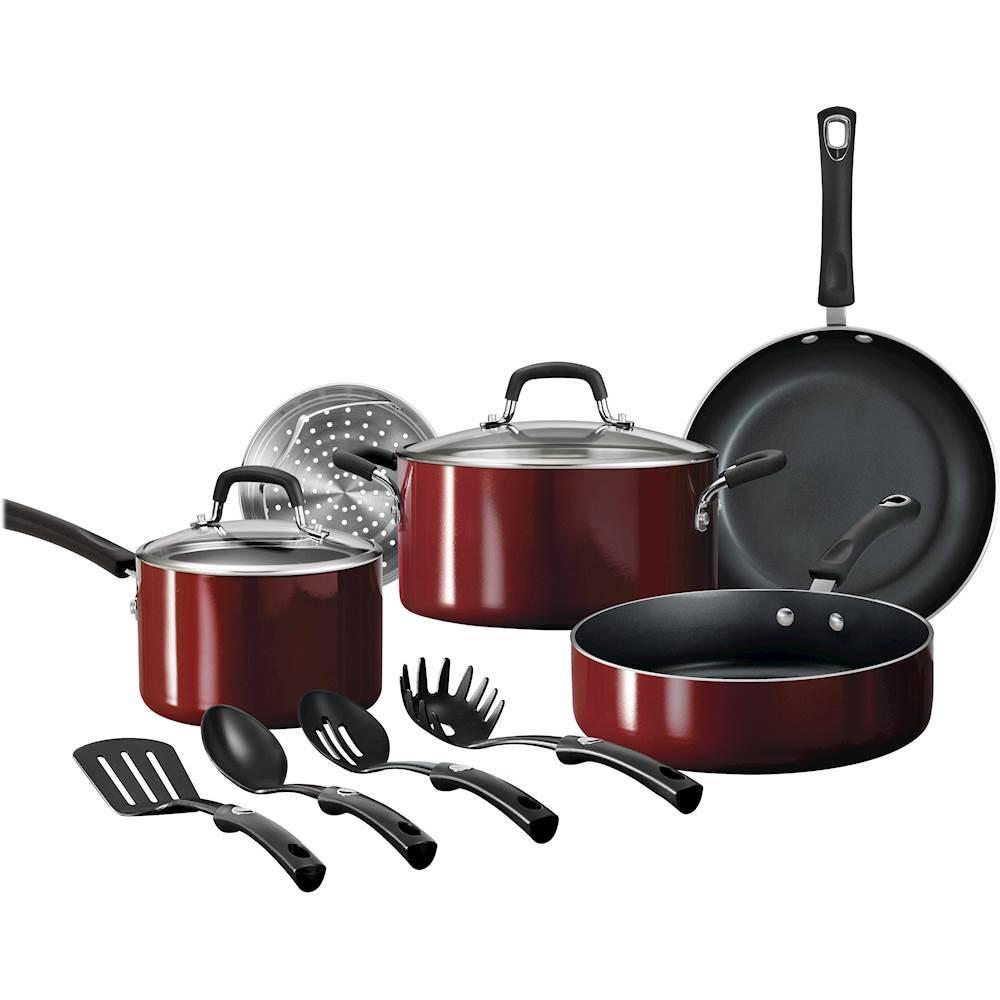 Best Buy Tramontina Gourmet 11 Piece Cookware Set Red Rhubarb 80106 649 Cookware Set Cookware Set Nonstick Nonstick Cookware