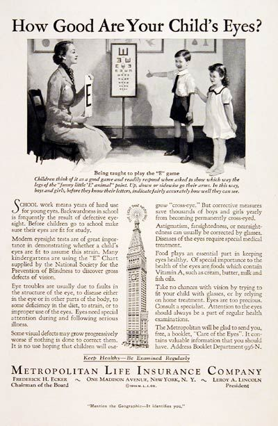1936 Metropolitan Life Insurance original vintage advertisement. Describes the importance of modern eyesight tests in diagnosing children's vision problems linked to learning disabilities.