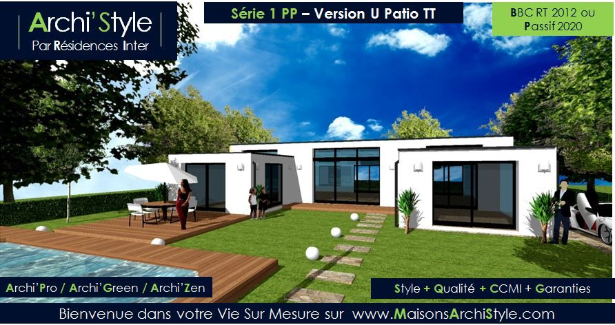 Plan maison moderne toit plat plain pied for Plan maison contemporaine bbc