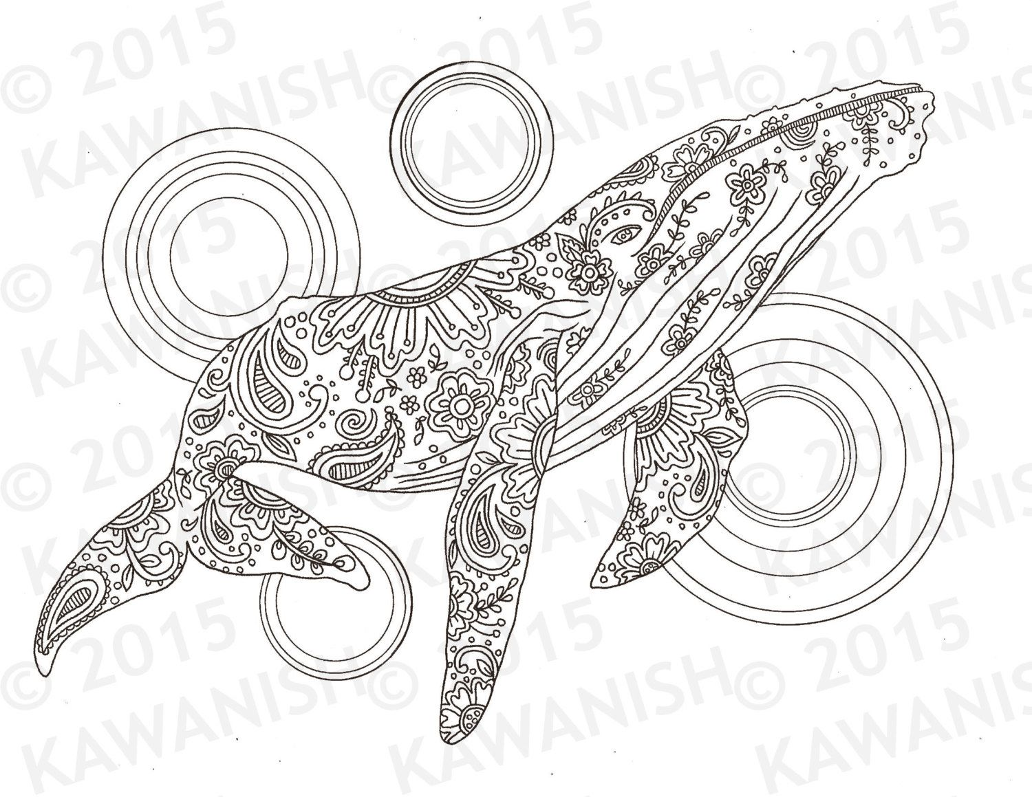 Whale Adult Coloring Page Gift Wall Art Zentangle Door Kawanish Op Etsy