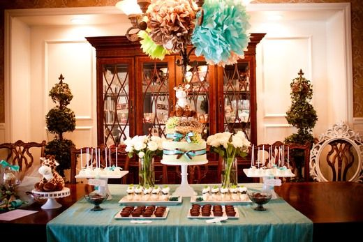 """More ideas for tiffany blue and brown giraffe print Photo 1 of 12: Baby Shower/Sip & See """"Giraffe Chic"""" 