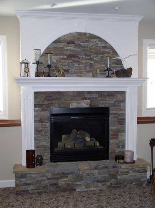 Natural Stone Fireplace With White Wood Surround Cabinet Maker In Topeka Kansas Kitchen
