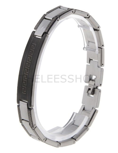 (HLBR014-SILVER) Black Silver Two-Tone Logo Patched Stainless Steel Bracelet