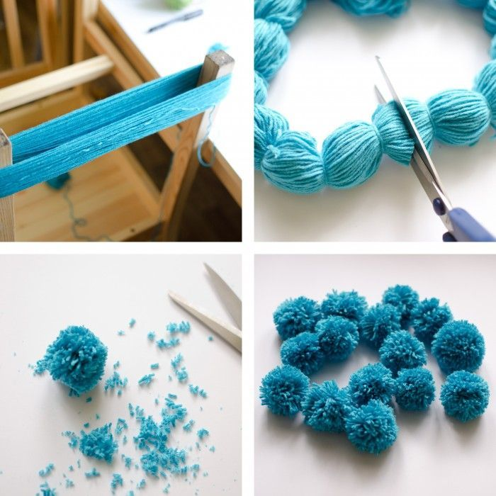 Yarn pom-poms the easiest way ever diy tutorial. Pure genius ...