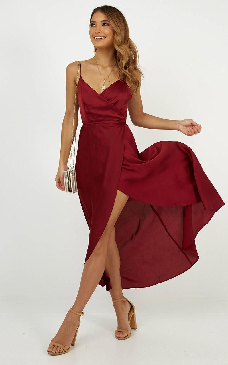 e79d4cfd242 The Countess Dress In Wine Satin Produced By SHOWPO