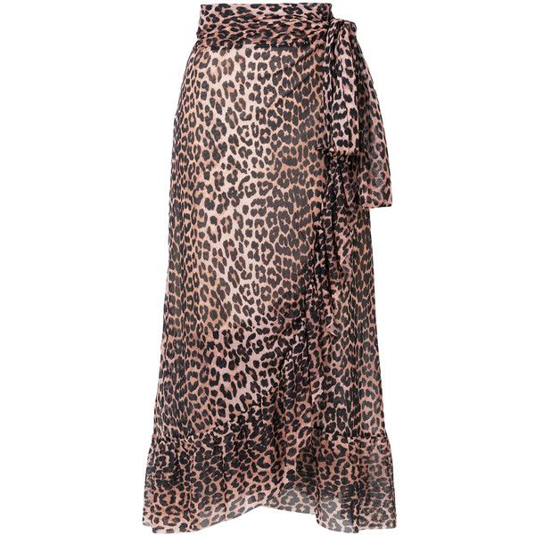 f0018337aa Ganni leopard wrap skirt (337 CAD) ❤ liked on Polyvore featuring skirts,  multicolour, high waisted skirts, leopard skirt, high waist ruffle skirt,  ...