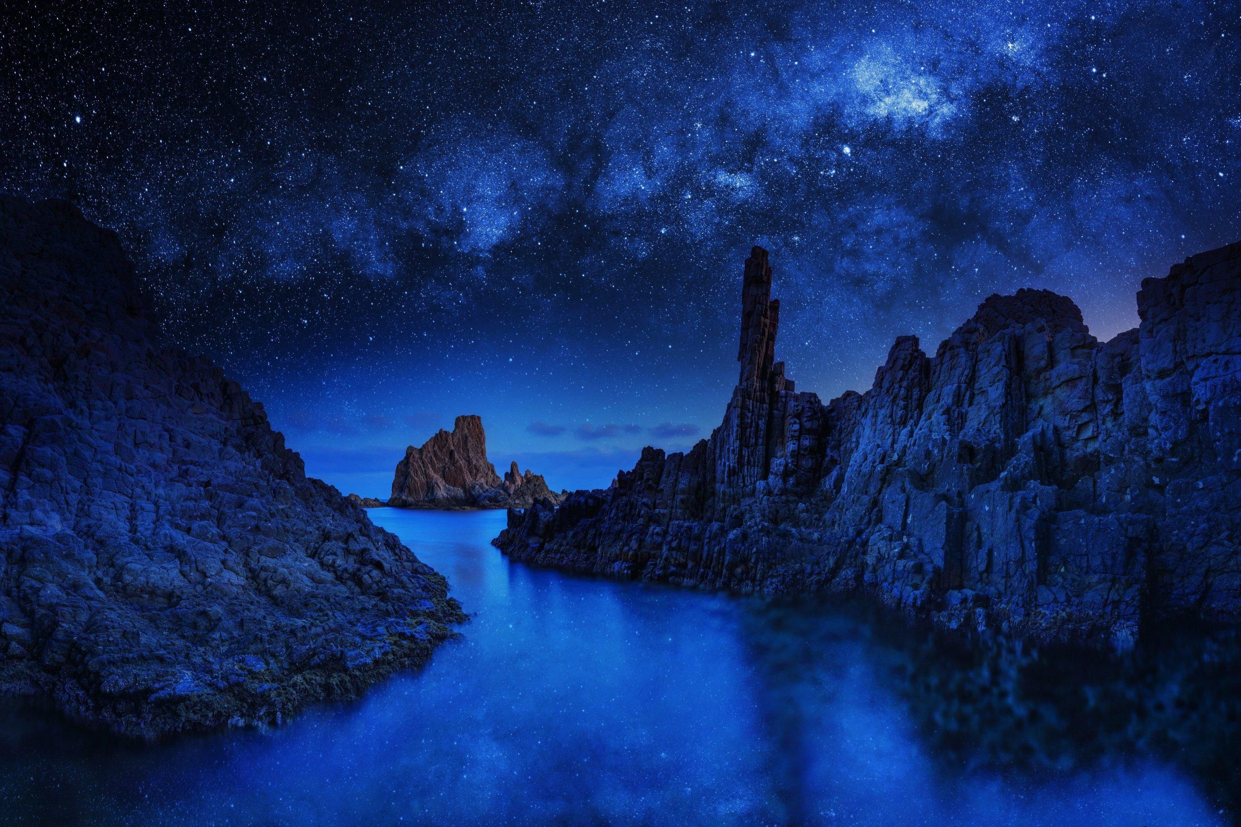 Earth Rock  Night Nature Sky Blue Star Starry Sky Wallpaper