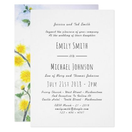 Spring Summer Wedding Yellow Flowers Invitation 5 - formal speacial