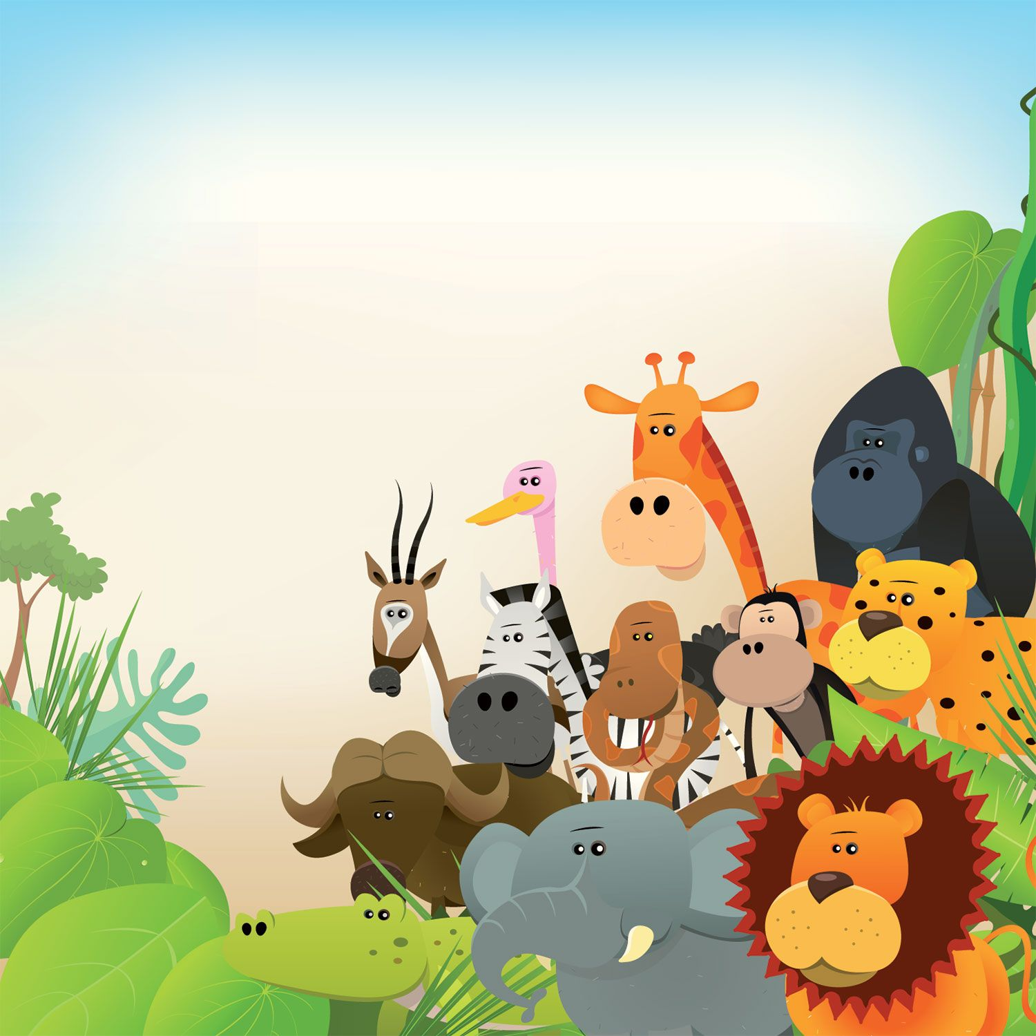 Cute Jungle Animals Wallpaper