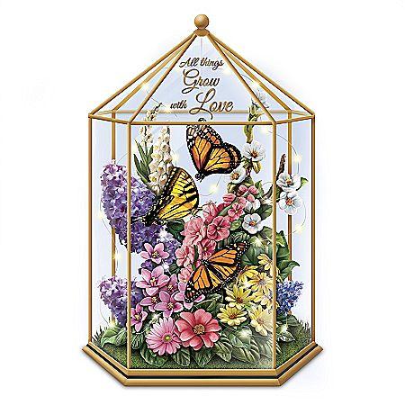 Delicate Treasures  Illuminated Butterfly Garden Sculpture is part of Butterfly garden Sculpture - A limitededition FIRST! Handcast and handpainted sculpture features vibrant butterflies and flowers inside a glass gazebo that lights up