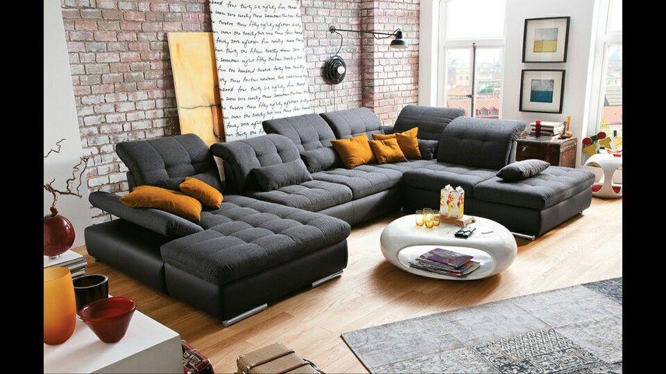 moderne wohnlandschaft u form haus pinterest wohnen wohnzimmer und haus. Black Bedroom Furniture Sets. Home Design Ideas