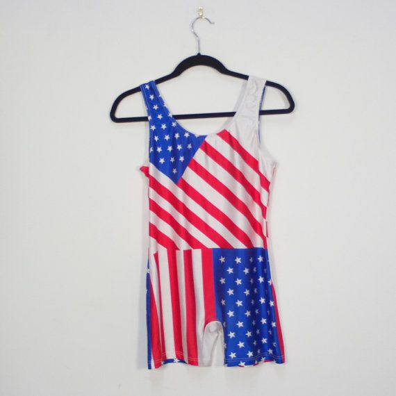 vintage American flag print body suit / red white and blue / stars and stripes / patriotic / 4th of july