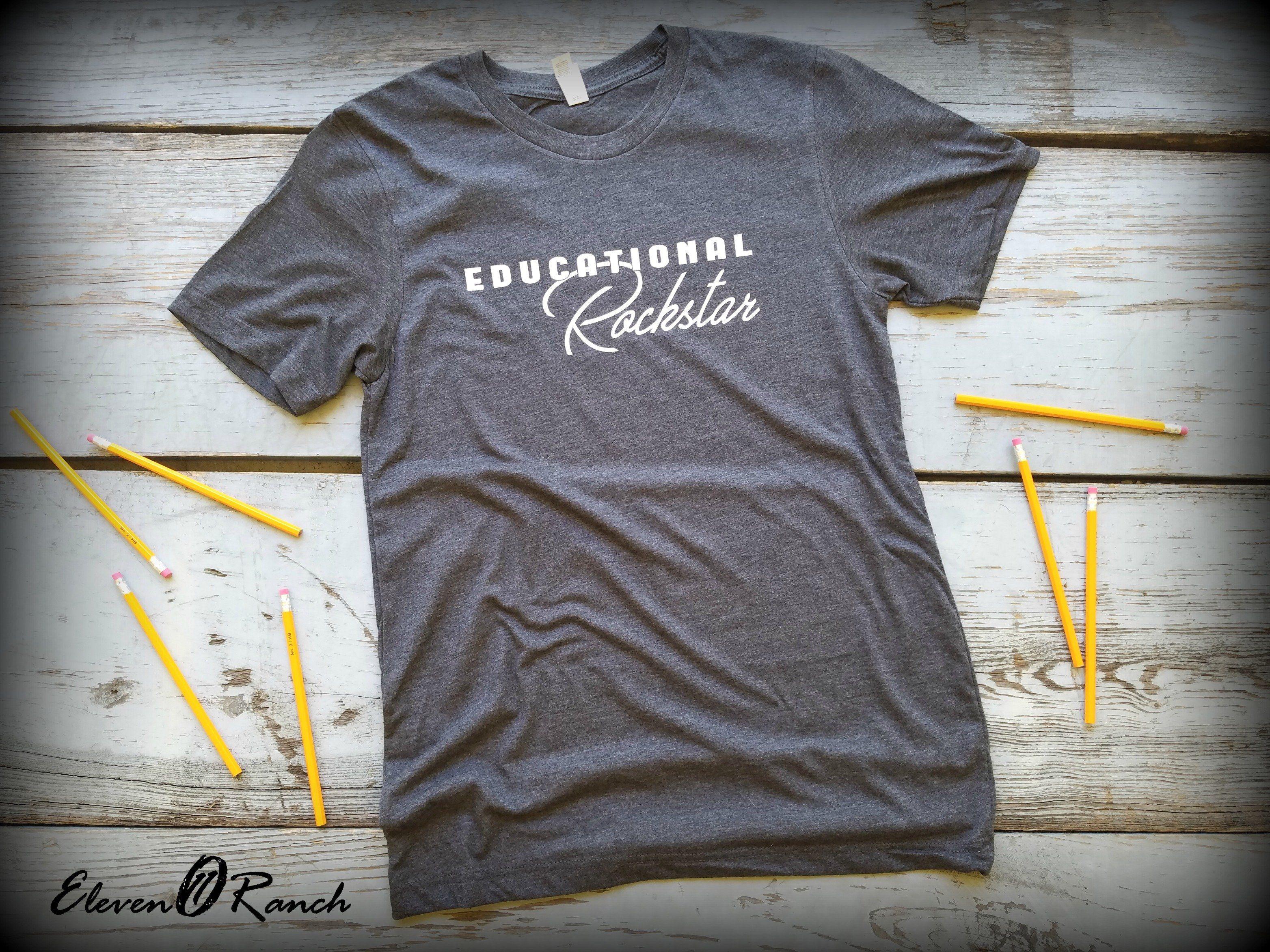 Teacher Educational Rockstar Size Medium Only Shirt Sale Tees Mens Tops
