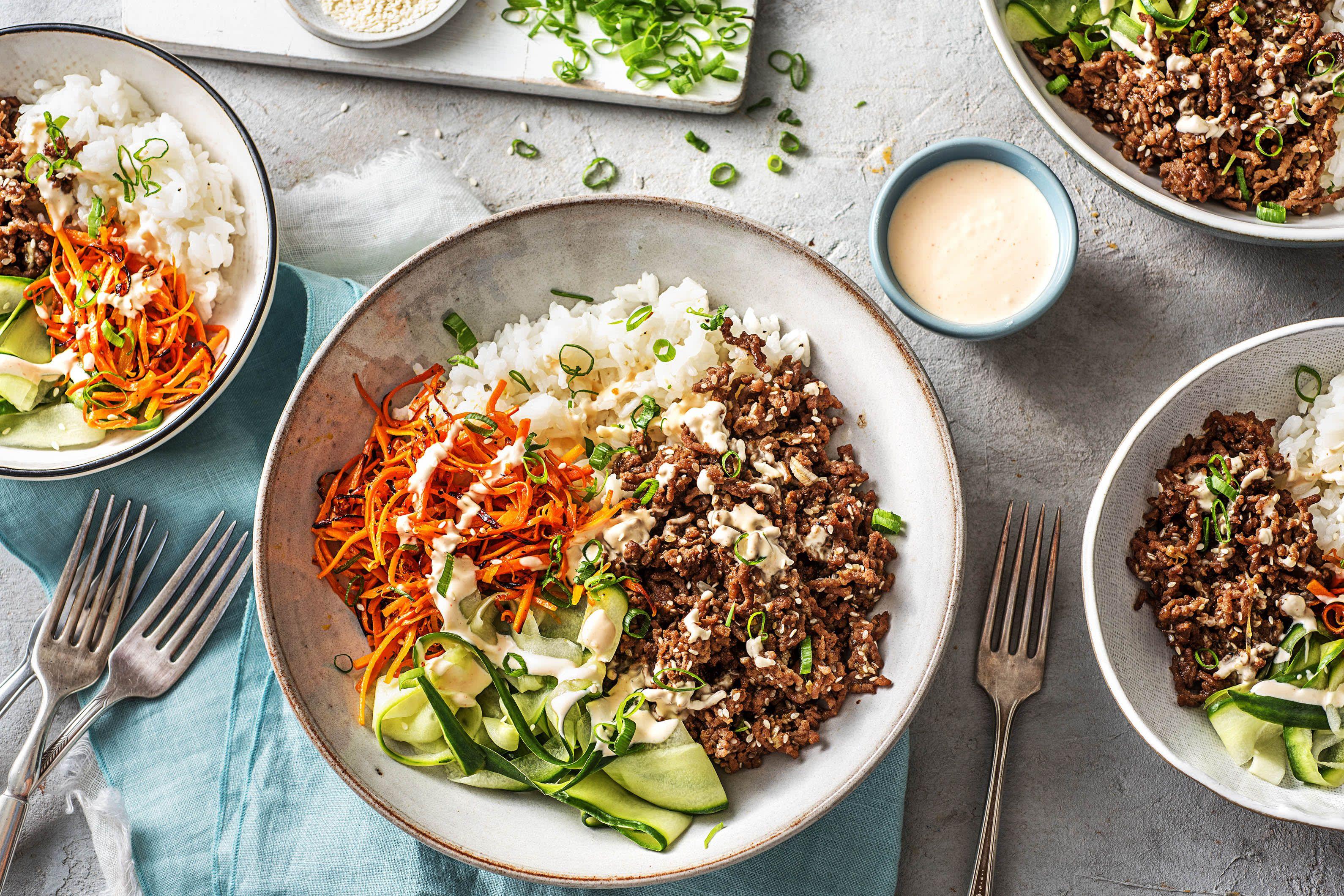 Ground Beef Bulgogi Bowls With Carrots Cucumber And Sriracha Crema Over Jasmine Rice Recipe Beef Bulgogi Recipe Bulgogi Recipe Ground Beef Bulgogi Recipe