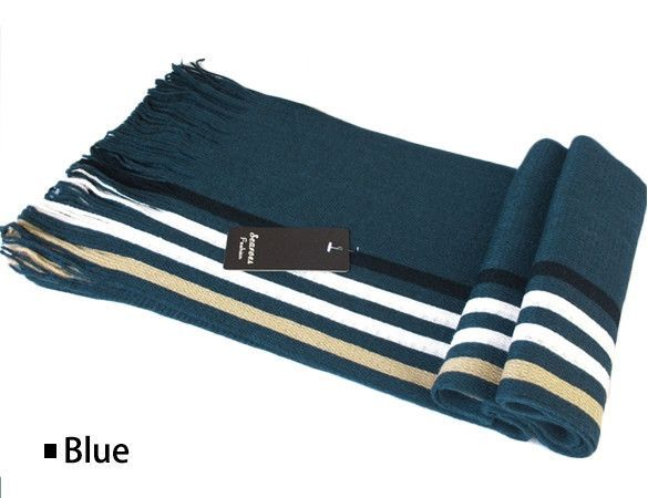 Unisex Knitted Striped Wool Fringed Scarf/Stole