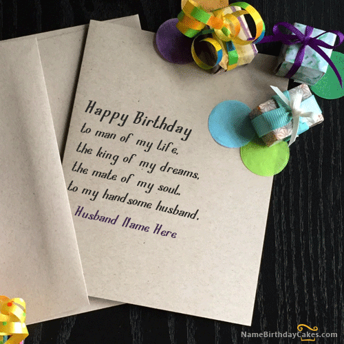 Write Name On Unique Birthday Card for Husband – Writing Birthday Greetings
