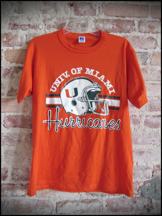 67823ab8d Vintage Deadstock 80's NCAA University of Miami Hurricanes Football Shirt  by RackRaidersVintage, $18.00