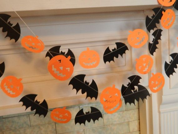 Halloween guirlande – Decor – 6ft citrouilles et chauves-souris guirlande – Party Decor vacances guirlande Halloween Photo Prop