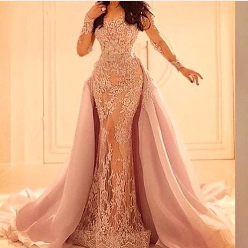9e1b1e323c Detachable Skirt Pink Lace Prom Dresses 2017