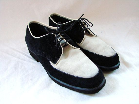 Vintage Hush Puppies Shoes  1980S Black  White Spectator -7192